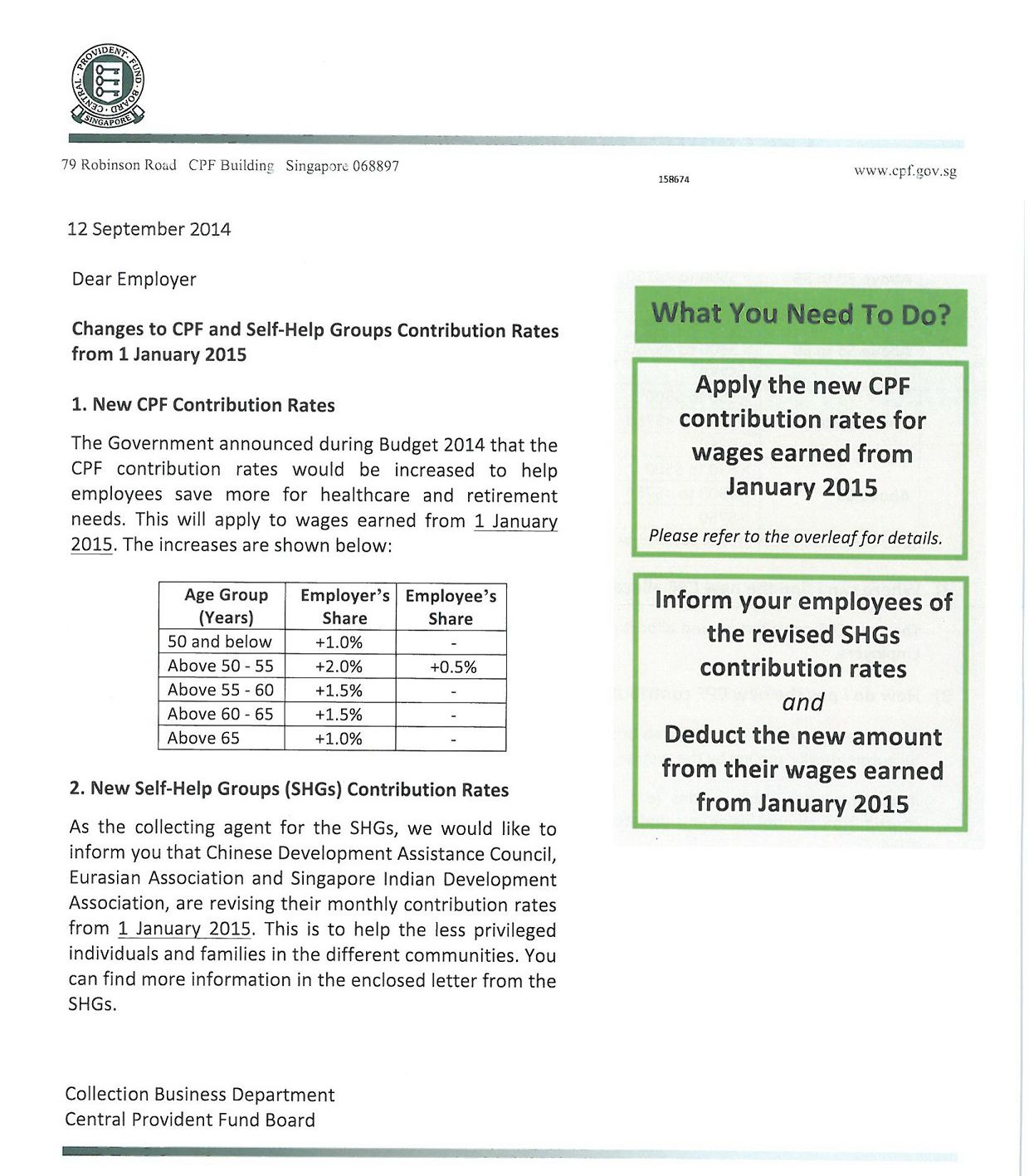 Changes to CPF and Self-Help Groups Contribution Rates from 1 January 2015 page 1